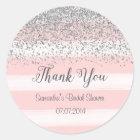 Pink Stripes Bridal Shower Sticker