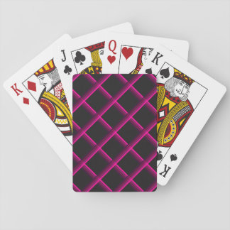 Pink Stripes Criss-cross over a black background Playing Cards