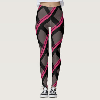 Pink Stripes Criss-cross over a grey background Leggings
