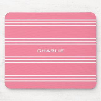 Pink Stripes custom monogram mousepad