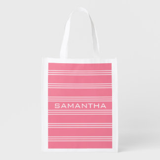 Pink Stripes custom monogram reusable bag Reusable Grocery Bag