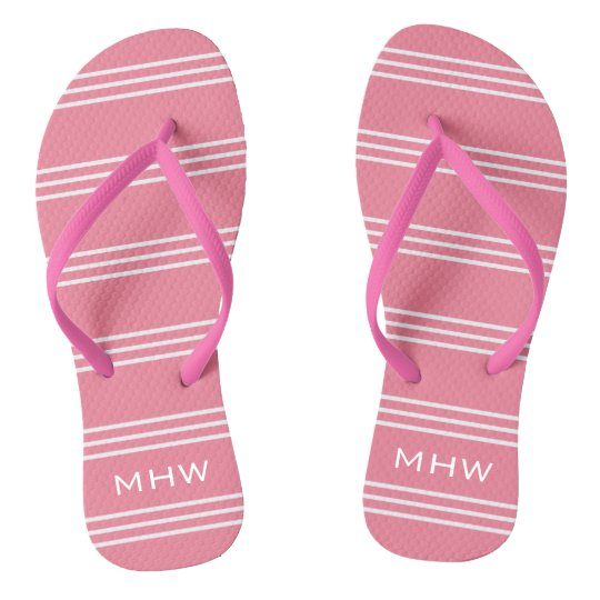 Pink Stripes custom monogram sandals Flip Flops