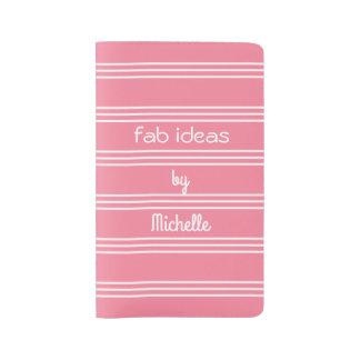 Pink Stripes custom text notebooks