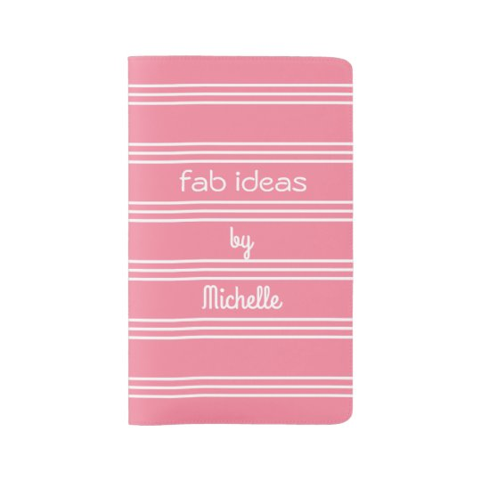 Pink Stripes custom text notebooks