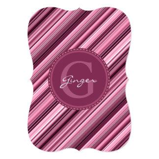 "Pink Stripes Diagonal Pattern - Custom Monogram 5"" X 7"" Invitation Card"