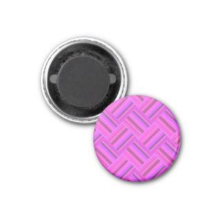Pink stripes diagonal weave pattern 1 inch round magnet