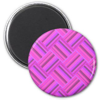 Pink stripes diagonal weave pattern 2 inch round magnet