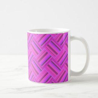 Pink stripes diagonal weave pattern coffee mug