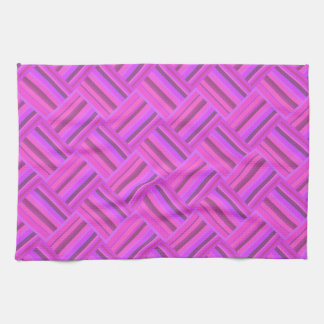 Pink stripes diagonal weave pattern hand towels