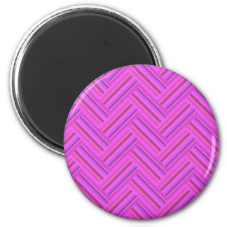 Pink stripes double weave pattern 2 inch round magnet
