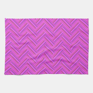 Pink stripes double weave pattern kitchen towels