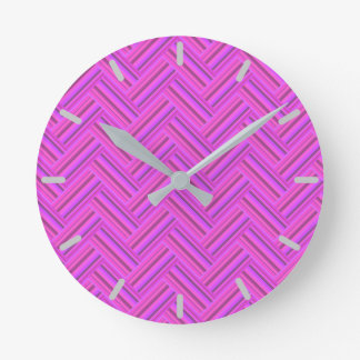 Pink stripes double weave pattern round clock