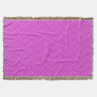 Pink stripes double weave pattern throw blanket