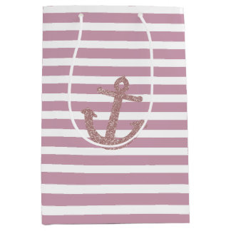 Pink Stripes Faux Glitter Anchor Medium Gift Bag