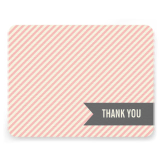 Pink Stripes Flat Thank You Notes Custom Invites