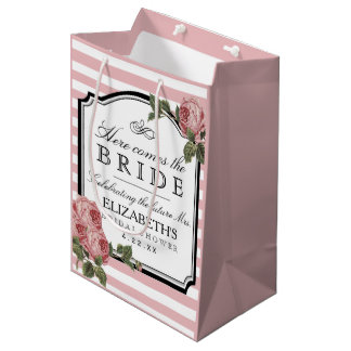 Pink Stripes Floral Bridal Shower Customize Color Medium Gift Bag