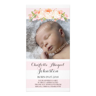 Pink Stripes Floral Thank You Baby Shower Photo Card Template