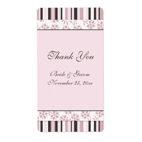 Pink Stripes Floral Wedding Labels