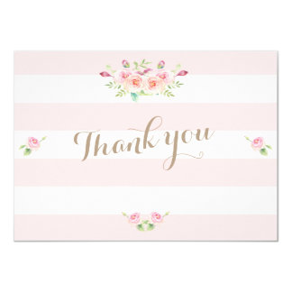 Pink Stripes Flowers Wedding Thank You Card