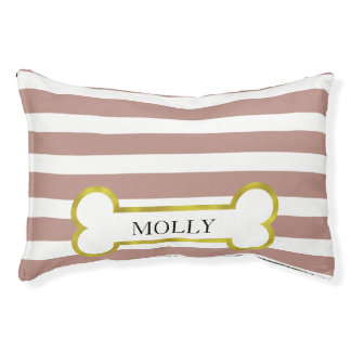 Pink Stripes & Gold Bone Personalized Dog Bed