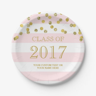 Pink Stripes Gold Confetti Graduation 2017 Paper Plate  sc 1 st  Zazzle CA & Gold Graduation Plates   Zazzle.ca