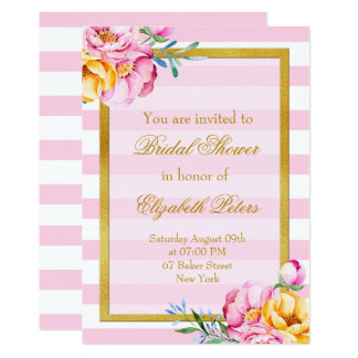 Pink Stripes Gold Frame Flower Bridal Shower Card