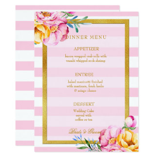 Pink Stripes Gold Frame Flower Wedding Card