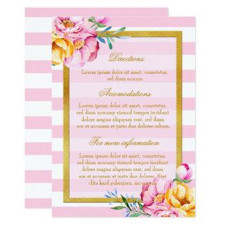 Pink Stripes Gold Frame Flower Wedding Directions Card