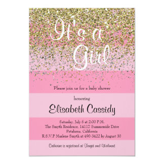 Pink Stripes & Gold Glitter Baby Shower Invite