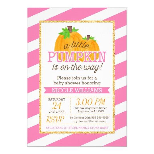 Pink Stripes Gold Little Pumpkin Fall Baby Shower Card