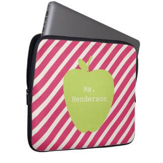 Pink Stripes & Green Apple Teacher Laptop Computer Sleeves
