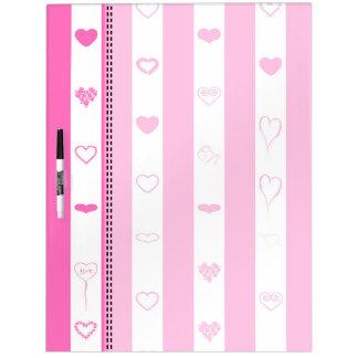 Pink Stripes Modern Heart Pattern Dry Erase Board