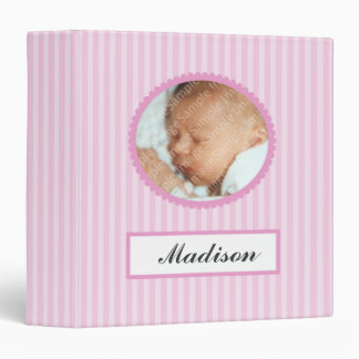 Pink Stripes New Baby Book Binder
