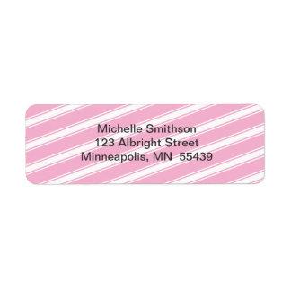 Pink Stripes Pattern Return Address Label Custom