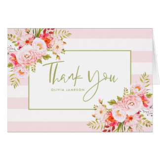 Pink Stripes Peonies Floral Thank You Card