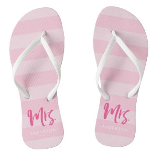 Pink Stripes Personalize with Name Mrs Flip Flops