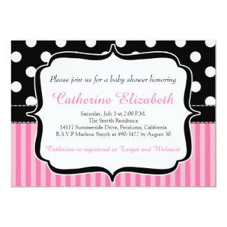 Pink Stripes, Polka Dots, Baby Shower Invitation