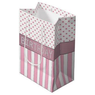 Pink Stripes/Polka Dots Diamond Birthday Gift Bag