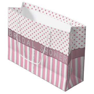 Pink Stripes/Polka Dots Diamond Bridal Shower LG Large Gift Bag