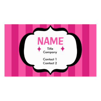 Pink Stripes Profile Card Business Card Template