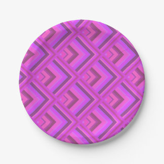 Pink stripes scale pattern paper plate