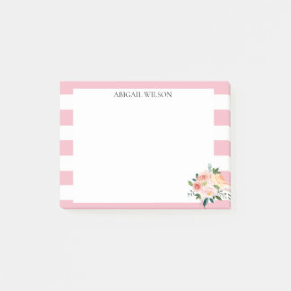 Pink Stripes Spring Peonies Personalized Post-it Notes