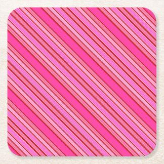 Pink Stripes Square Paper Coaster