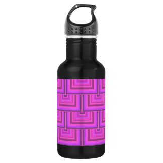 Pink stripes square scales pattern 532 ml water bottle