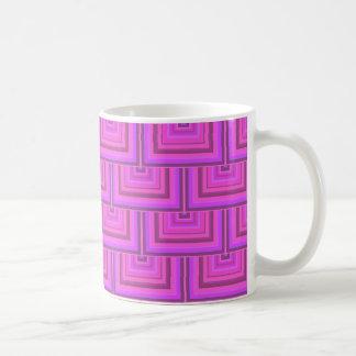 Pink stripes square scales pattern coffee mug