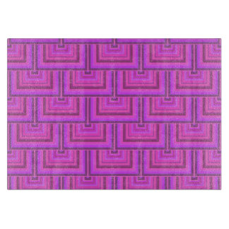 Pink stripes square scales pattern cutting board