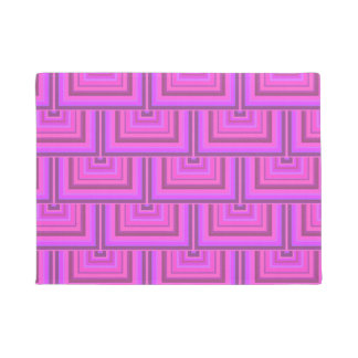 Pink stripes square scales pattern doormat