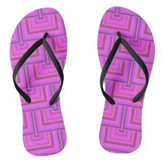 Pink stripes square scales pattern flip flops
