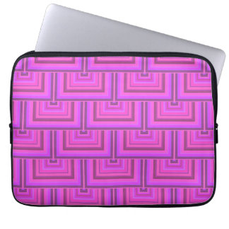Pink stripes square scales pattern laptop computer sleeves