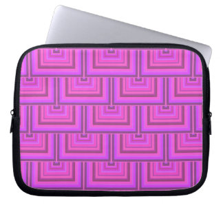 Pink stripes square scales pattern laptop sleeves